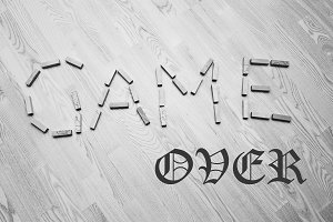 Wooden blocks with Game Over