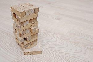 Wood block tower game