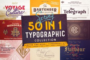 50 in 1 • Typographic Kit • 90% OFF