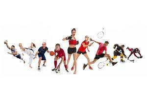 Sport collage about kickboxing, soccer, american football, basketball, ice hockey, badminton, taekwondo, tennis, rugby