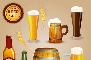 Premium beer icons composition