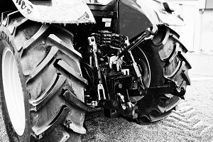 Wheels of back view of new tractor