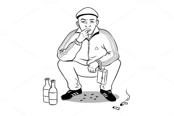 Gopnik hooligan man coloring book vector