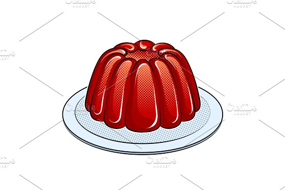 Jelly dessert pop art vector illustration