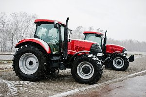 Two new red tractor