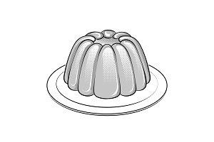 Jelly dessert coloring book vector illustration