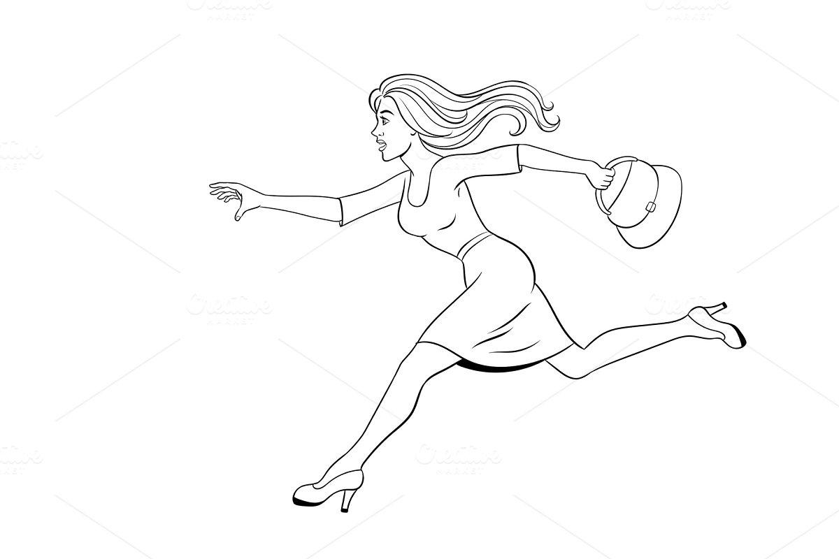 Woman run coloring book vector illustration
