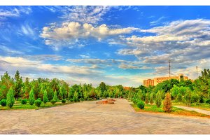 Alisher Navai Garden Square in Navoi city, Uzbekistan