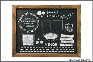 Chalkboard Doodle Frames & Graphics