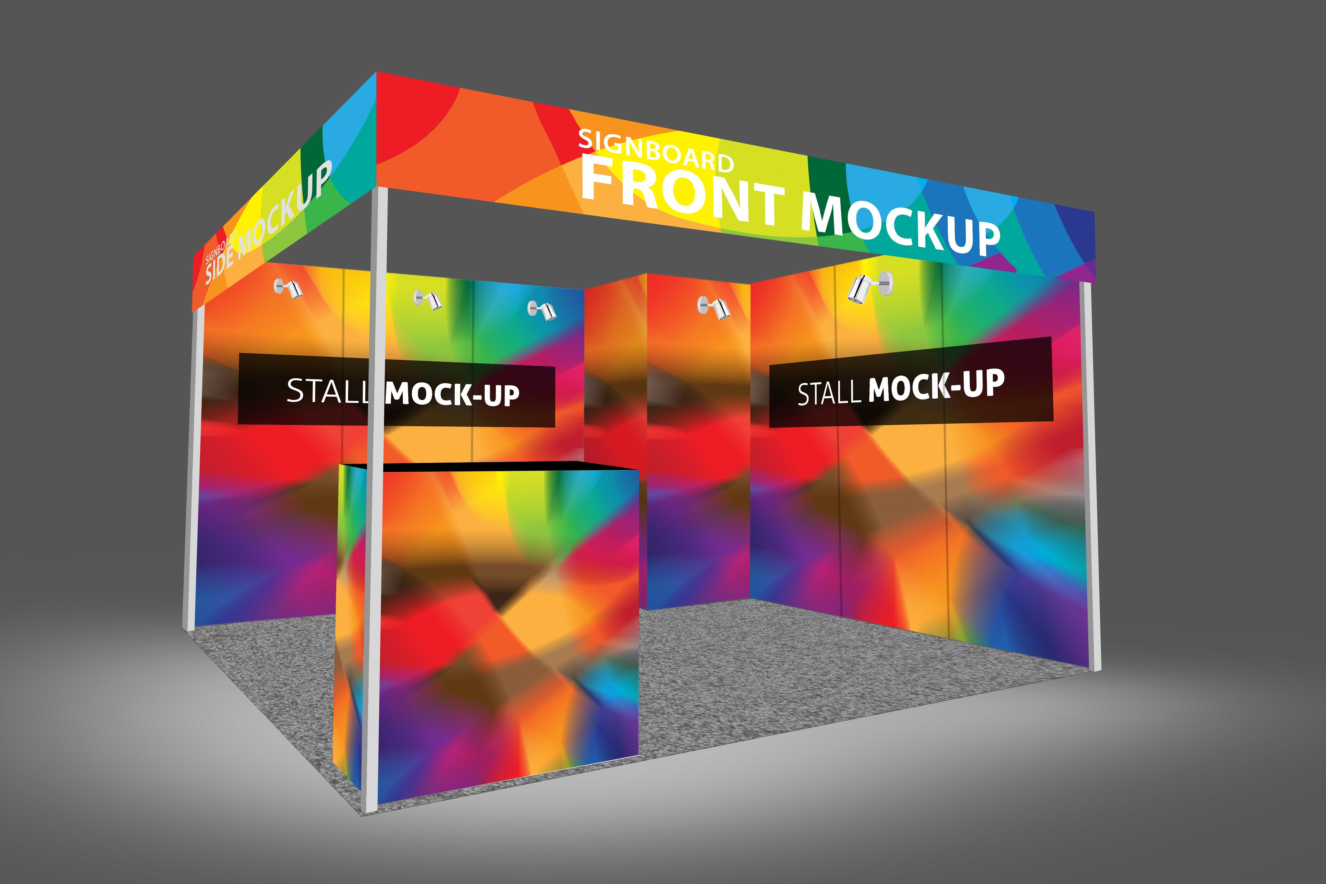 Fashion Exhibition Booth : Trade fair wall mockup templates creative market