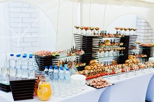 Buffet table of reception