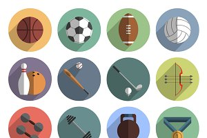 Outdoor team sport icons set