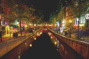 Red light district at night