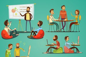 Coworking retro cartoon set