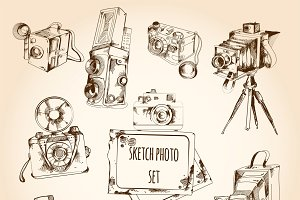 Sketch retro style photo set