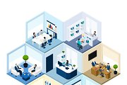 Offices hexagonal isometric set