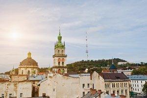 Panorama of old city Lviv,