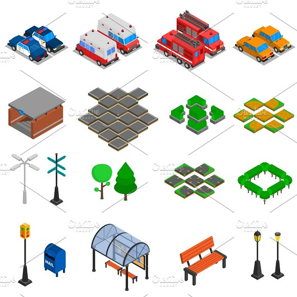 City Infrastructure Isometric Set