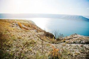 Podolski Tovtry cliff over reservoir
