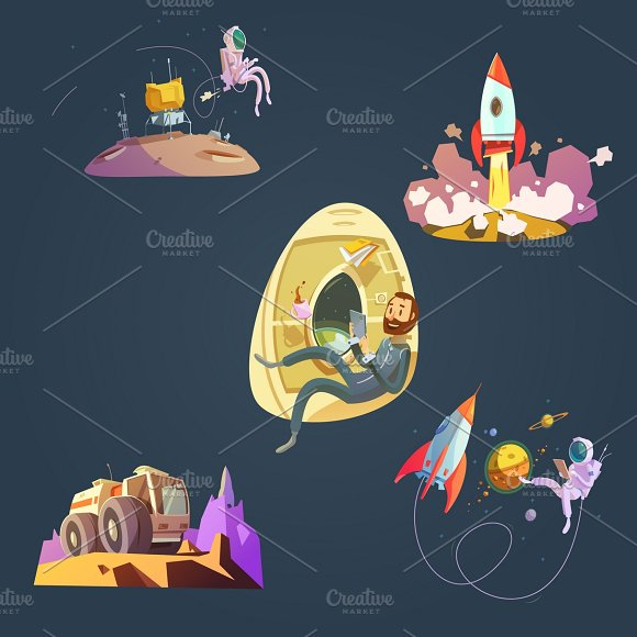 Space Cartoon Set