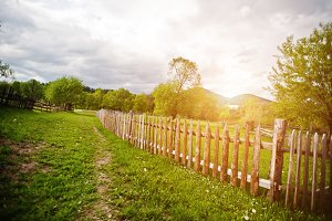Wooden fence on sunny meadow