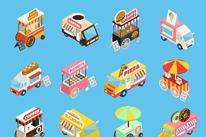 Street food carts isometric icons
