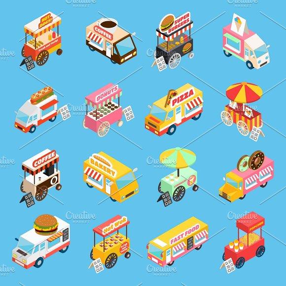 Street Food Carts Isometric Icons