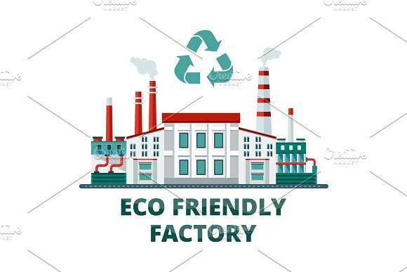 eco friendly factory in Illustrations