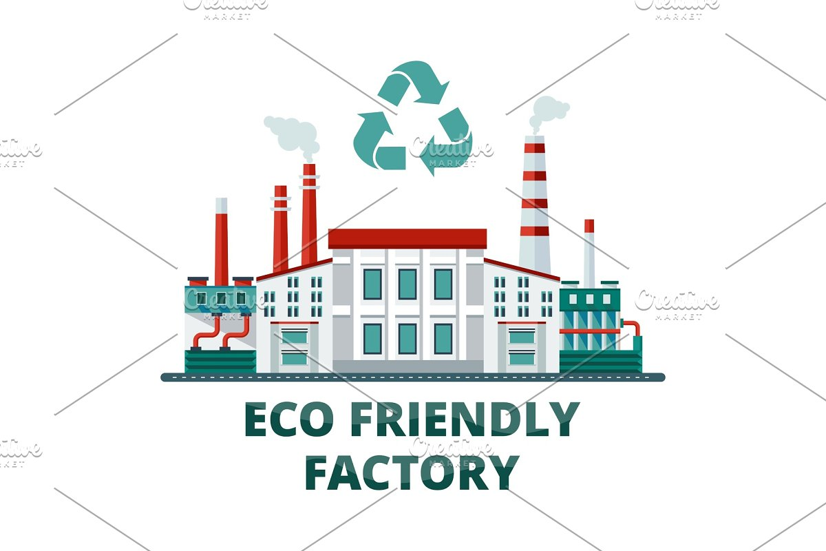 eco friendly factory in Illustrations - product preview 8