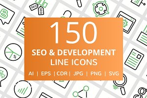 150 SEO & Development Line Icons