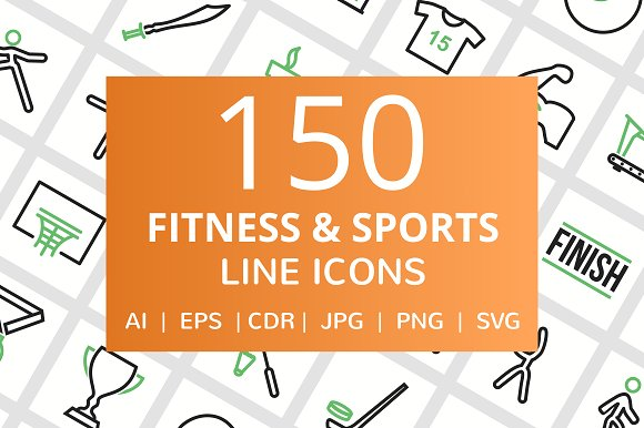 150 Fitness Sports Line Icons