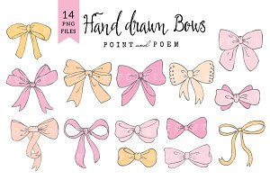 Bow Clip Arts Pink & Yellow