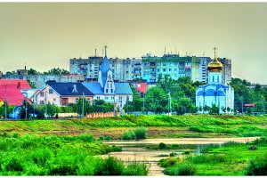 View of Mukachevo town with churches, Ukraine