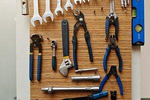 used tools on wood deck