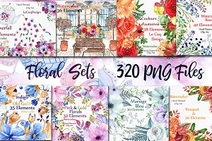 Bundle-Watercolor floral clipart