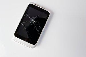 Broken screen of smart phone