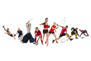 Sport collage about kickboxing, soccer, american football, basketball, ice hockey, badminton, aikido, tennis, rugby