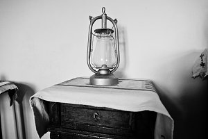 Old kerosene lamp on the table