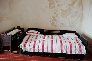 Old wooden bed