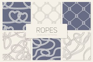 Ropes. Seamless Patterns Set