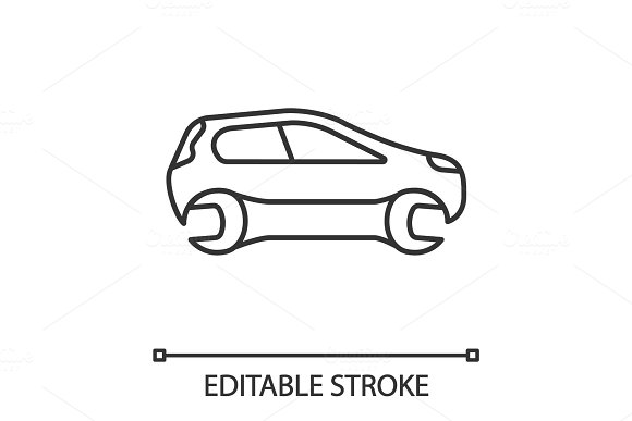 Car With Spanner Linear Icon