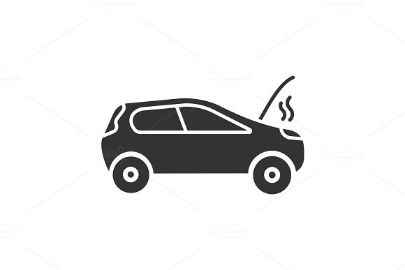Broken Car Glyph Icon