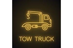 Tow truck neon light icon