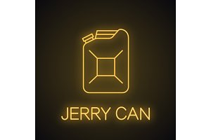 Steel jerry can neon light icon