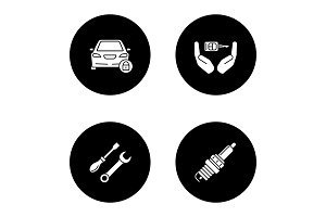 Auto workshop glyph icons set