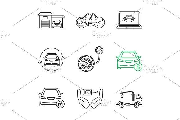 Auto Workshop Linear Icons Set