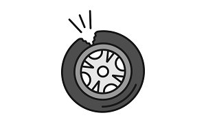 Punctured tire color icon