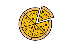 Pizza with one slice separated color icon