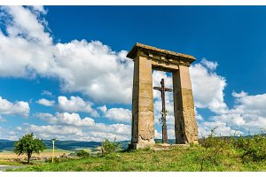 Christian cross in a field on the border between Presov and Kosice regions in Slovakia