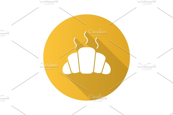 Fresh Croissant Flat Design Long Shadow Glyph Icon